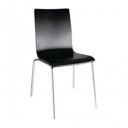 4 chaises dossier carré noire Bolero