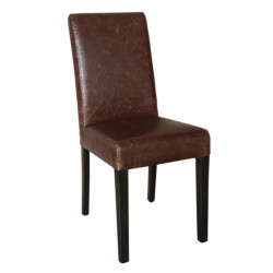2 chaises en simili cuir marron patiné Bolero