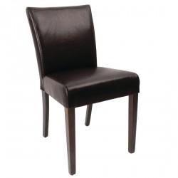 2 chaises contemporaines simili cuir marron foncé Bolero