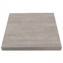 Plateau de table carré effet bois gris 700mm Bolero